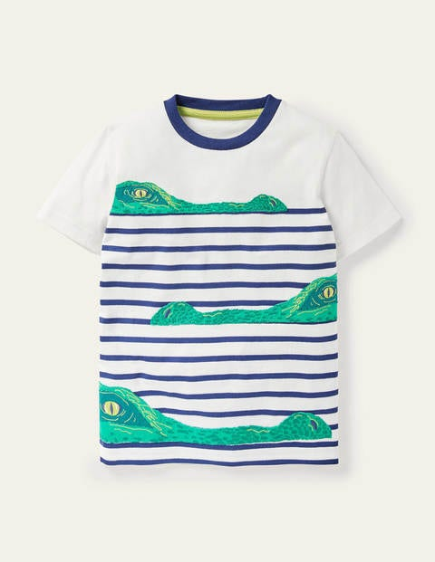 Appliqué Breton Stripe T-shirt - Ivory/College Navy Crocs