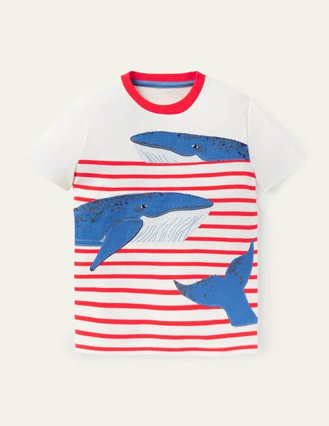 Appliqué Breton Stripe T-shirt - Ivory/Red Whales