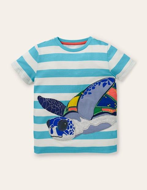 T-shirt à appliqués animaux marins - Tortues bleu aigue-marine