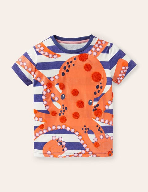 Sea Animals Appliqué T-shirt - Venice Blue Octopus