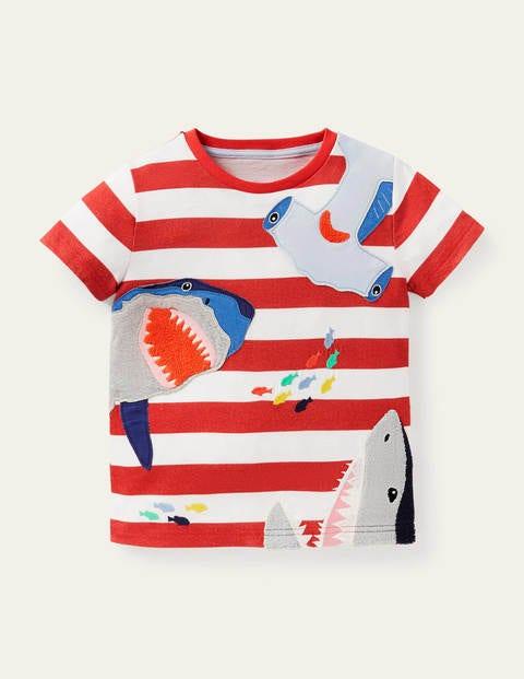 T-Shirt mit Meerestierapplikation - Erdbeerkuchenrot, Haie