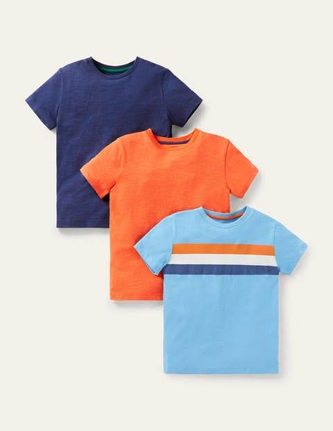 3 T-shirts délavés en tissu flammé - Bleu marine/rayé bleu/orange