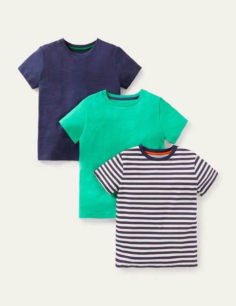 3 Pack Slub Washed T-shirt - Navy/Stripe/Green