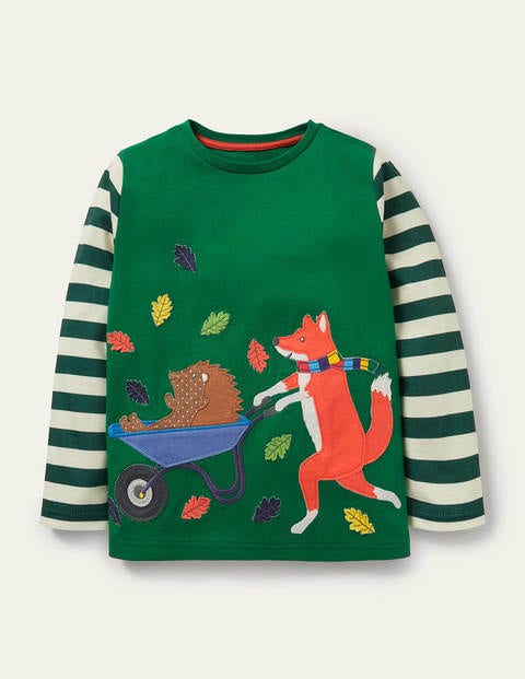 Woodland Appliqué T-shirt - Forest Green Wheelbarrow Fox