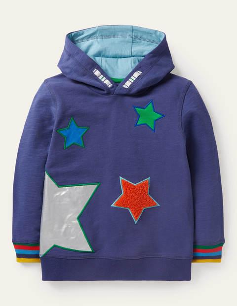 Bequemer Hoodie mit applizierten Foliensternen - Segelblau, Sterne