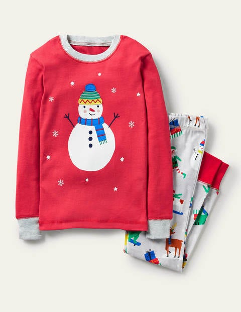 Snug Appliqué Long Pyjamas - Rockabilly Red/Grey Snowman