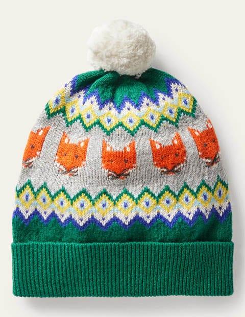 Gemütliche Fuchs-Mütze mit Fair-Isle-Muster