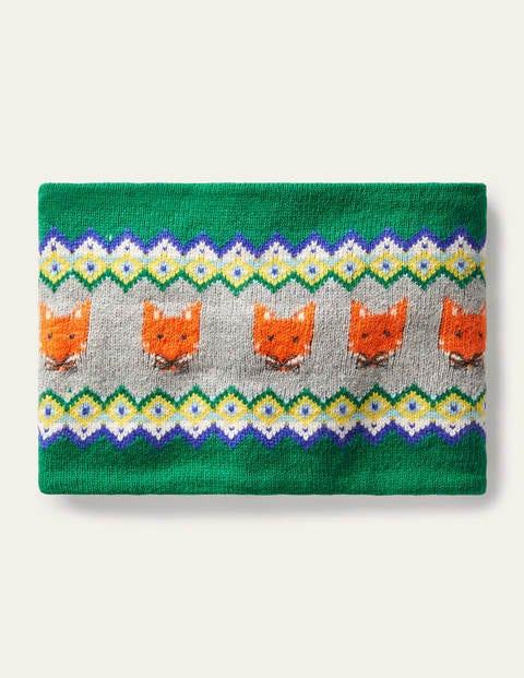 Snood cosy motif jacquard et renards - Vert forêt