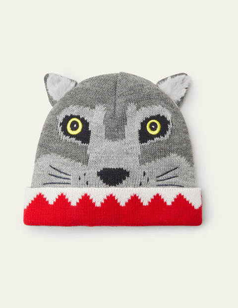 Wolf Knitted Hat - Grey Marl