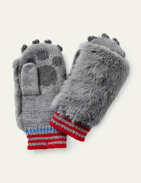 Wolf Knitted Mittens