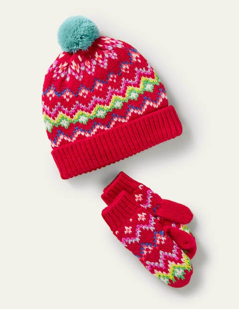 Fair Isle Hat and Mittens Set - Rockabilly Red
