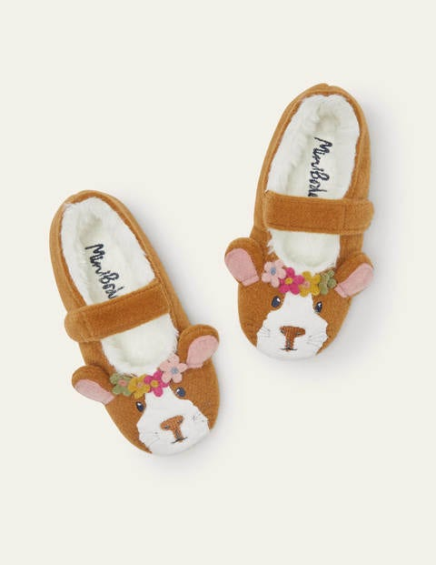 Mary Jane Slippers - Brown Guinea Pig