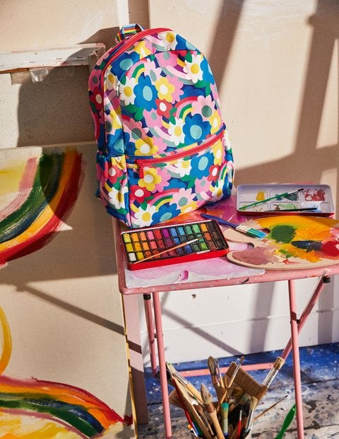 Schultasche - Regenbogen-Blume