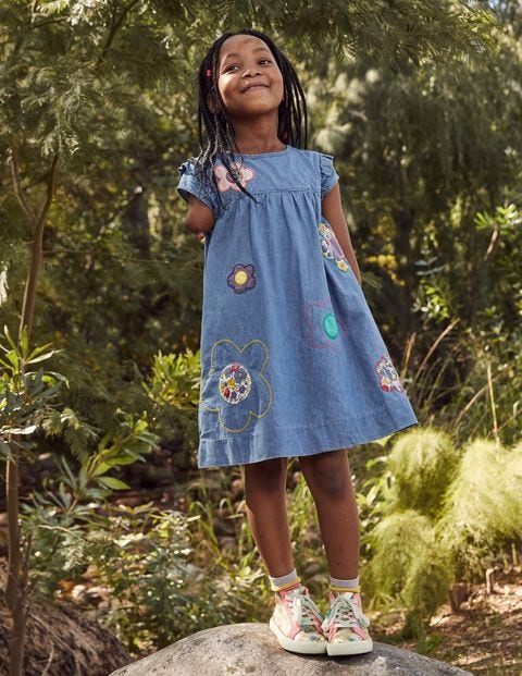 Easy Everyday Dress - Chambray Blue Flowers