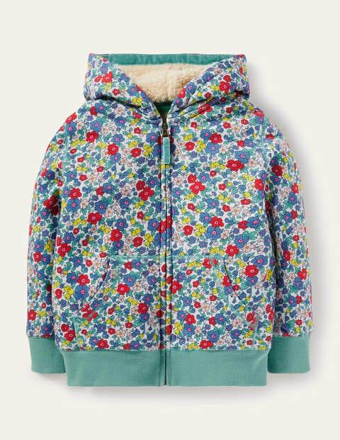 보덴 걸즈 집업 후디 Boden Shaggy-lined Hoodie - Multi Apple Blossom Floral
