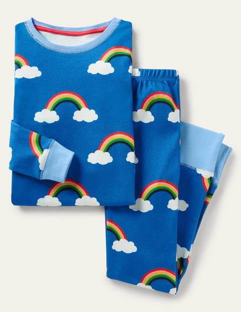 Im Dunkeln leuchtender bequemer Schlafanzug - Marokkoblau, Regenbogen mit Wolken