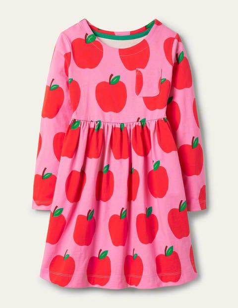 Long Sleeve Fun Jersey Dress - Bright Pink Petal Apples