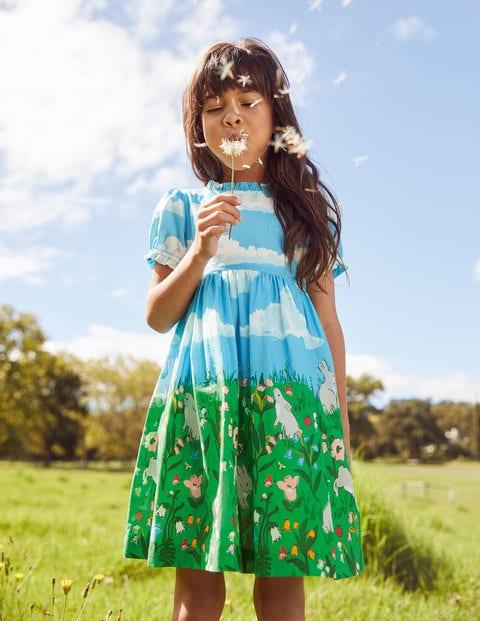 Frill Neck Woven Dress - Multi Bunny Scene