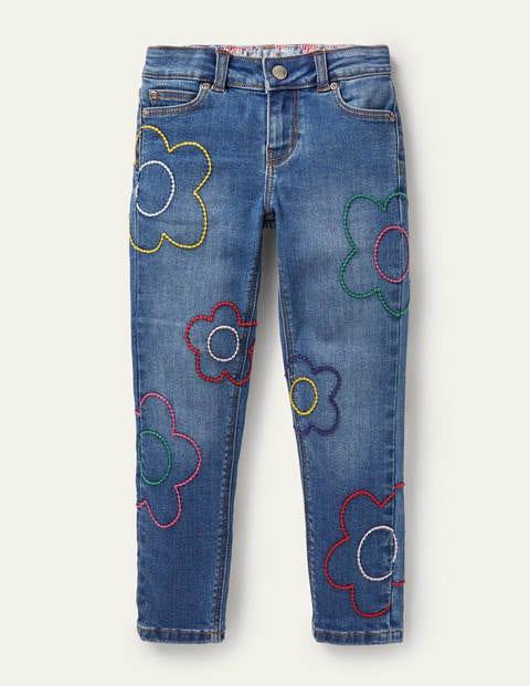 Flower Stitch Slim Fit Jeans