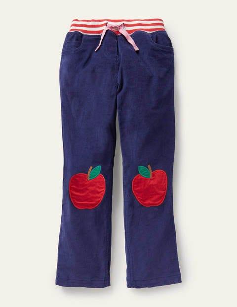 보덴 걸즈 팬츠 Boden Cord Patch Trousers - Starboard Blue Apples
