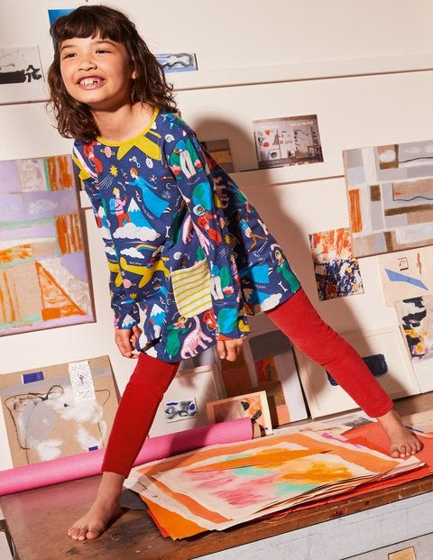 Printed Jersey Pocket Tunic - Starboard Blue When I Grow Up