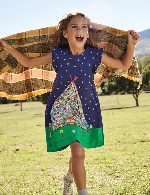 Lift The Flap Jersey Dress - Starboard Blue Tent