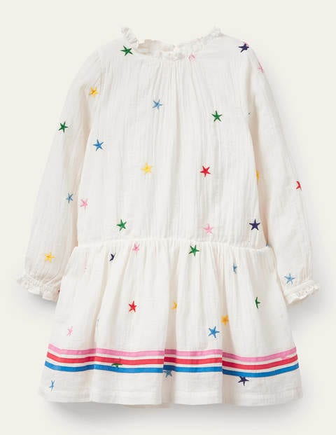Embroidered Woven Dress - Ivory Stars