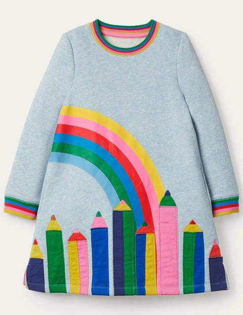 Appliqué Sweatshirt Dress - Light Blue Pencils