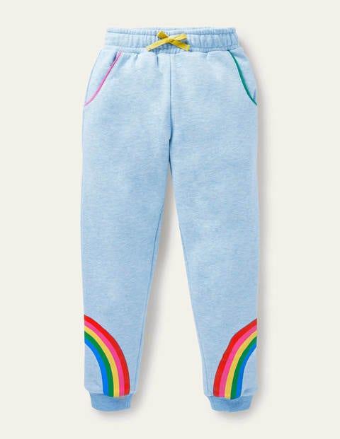 보덴 걸즈 조거 팬츠 Boden Cosy Applique Joggers - Light Blue Marl Rainbow
