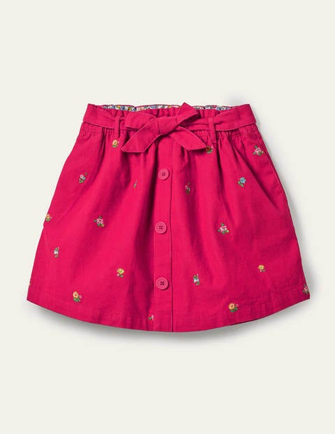 Tie Waist Embroidered Skirt - Rose Petal Red Floral Cord