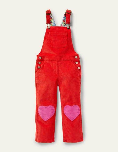 보덴 걸즈 멜빵 바지 Boden Heart Wide Leg Dungarees - Rosehip Red Cord