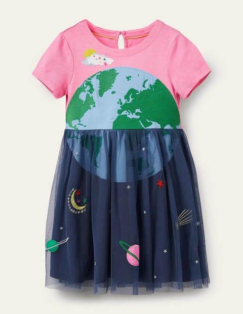 Appliqué Tulle Jersey Dress