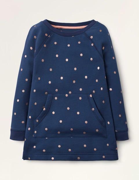 Printed Sweatshirt Tunic - College Navy Foil Spot