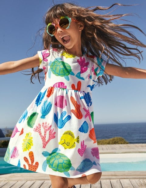 Fun Jersey Dress - Multi Giant Fish Friends