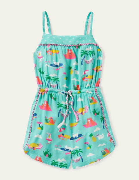 Tassel Tie Woven Romper - Pool Blue Holiday Cats