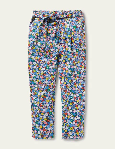 Pantalon imprimé et noué à la taille - Champ de fleurs bleu élisabéthain