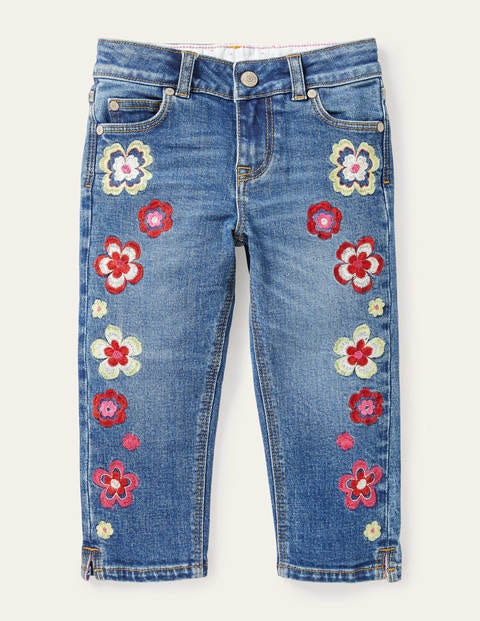 Embroidered Capri Jeans
