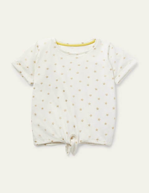 Tie-front T-shirt - Ivory/ Gold Foil Little Star