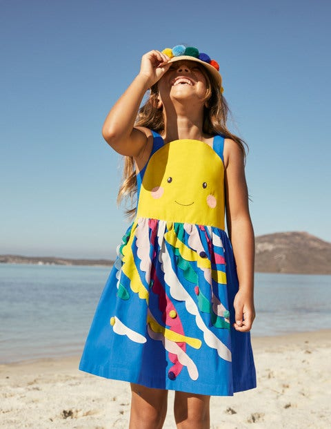 Fun Embellished Dress - Moroccan Blue Jellyfish