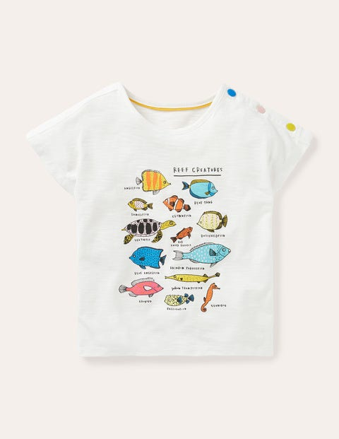 Button Detail Logo T-shirt - Ivory Fish Facts