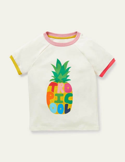 Fun Graphic Raglan T-shirt - Ivory Pineapple