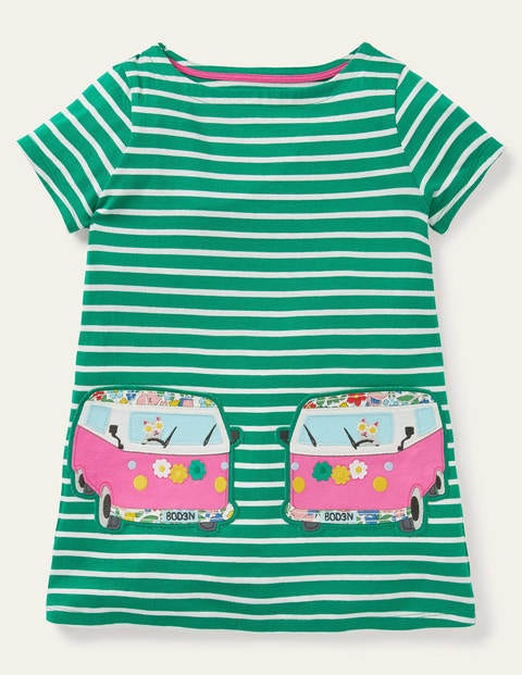 Summer Appliqué Pocket Tunic - Sapling Green/ Ivory Van