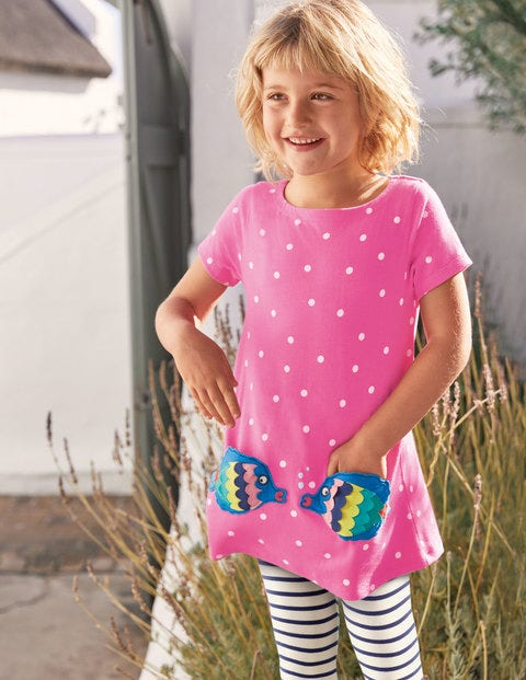 Summer Appliqué Pocket Tunic - Tickled Pink Spot Fish