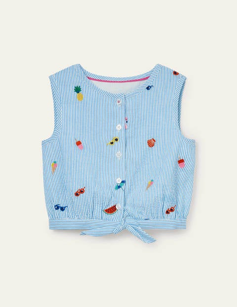 Embroidered Tie Woven Top