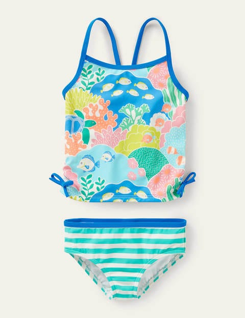 Ruched Tankini - Multi Coral Reef