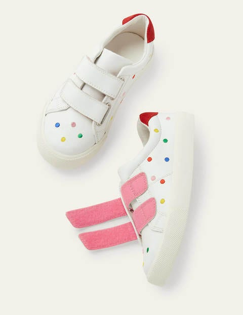 Fun Low Tops - White Leather Rainbow Spots