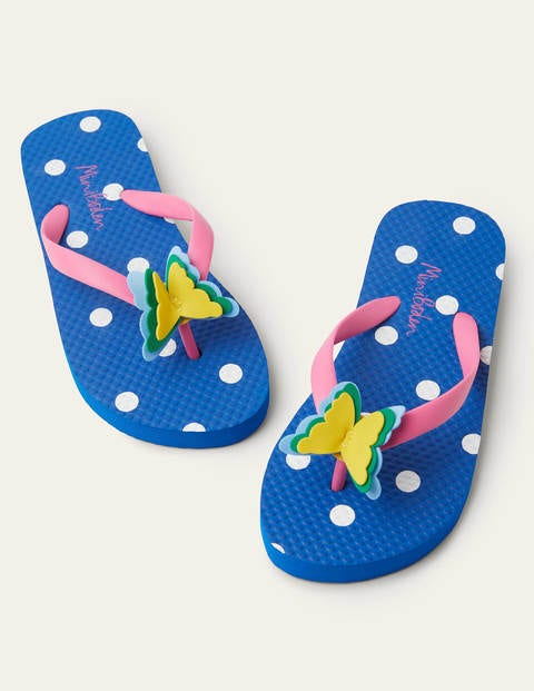 Fun Printed Flip Flops - Multi Flower Butterfly