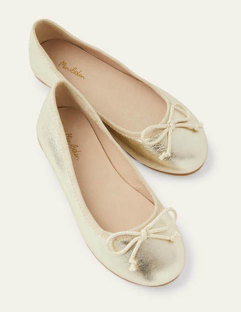 Ballet Flats - Gold Sparkle Leather