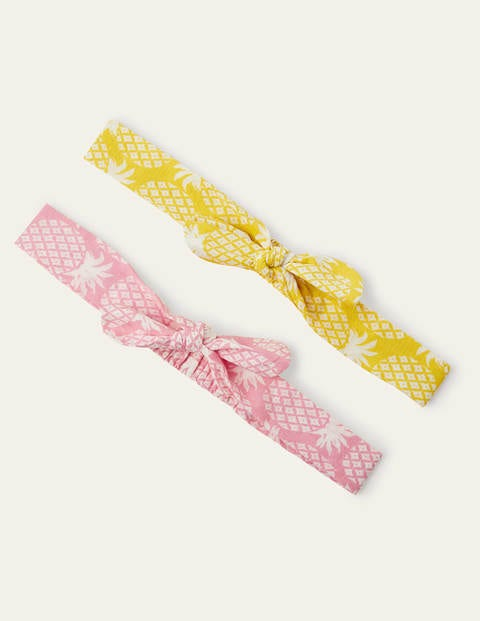 Bow Headbands 2 Pack - Pink/Yellow Pineapple