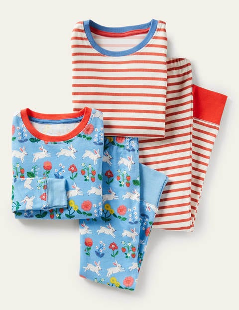 Twin Pack Long John Pajamas - Blue Bunny/ Coral Stripe